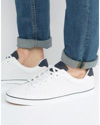 Pull&Bear | Perforated Trainers In White With Navy Trim | Lyst