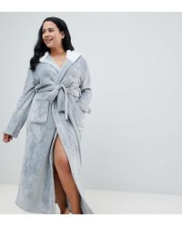 ASOS - Asos Design Curve Super Soft Fleece Midi Robe With Contrast Lining - Lyst