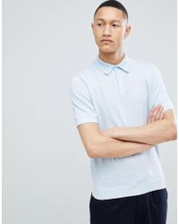 Reiss - Knitted Polo In Blue - Lyst