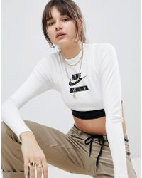 Nike - Air High Neck Cropped Top In White - Lyst