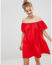 ASOS - Off Shoulder Sundress With Fringing Detail - Lyst