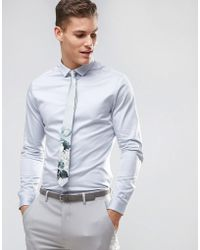 caa8e9394bd ASOS - Wedding Slim Fit Sateen Shirt With Turned Back Placket In Lt Blue -  Lyst
