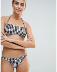 Playful Promises - Le Palm Basic Skimpy Tanga Bikini Bottoms In Houndstooth - Lyst