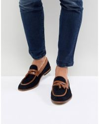 ASOS - Design Loafers In Navy Suede With Tan Leather Contrast Panels - Lyst