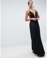 ASOS DESIGN - Strappy Plunge Maxi Prom Dress With Open Back - Lyst
