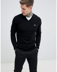 Fred Perry - V-neck Merino Knitted Jumper In Black - Lyst