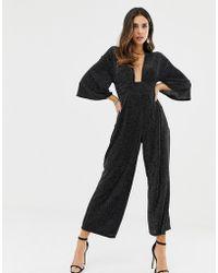 8fb0254c79b ASOS - Glitter Plunge Neck Kimono Drape Sleeve With Wide Leg - Lyst