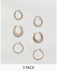 Reclaimed (vintage) - Inspired 3 Pack Hoop Earrings - Lyst