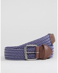 ASOS - Asos Wide Woven Belt In Navy And White - Lyst