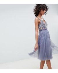 Needle & Thread - Embroidered Bodice Cami Strap Midi Dress - Lyst