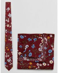 ASOS - Floral Tie And Pocket Square Pack In Burgundy - Lyst