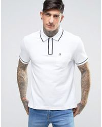 Original Penguin | Earl Pique Polo Slim Fit Tipped Logo In White | Lyst