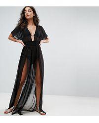 c079a2cdd57 ASOS - Asos Design Tall Shirred Waist Maxi Chiffon Beach Caftan - Lyst