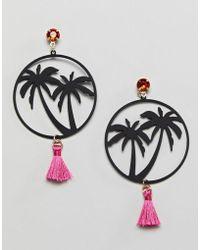 ASOS - Design Miami Nights Hoop And Tassel Earrings - Lyst