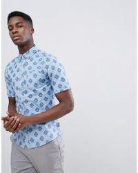 8e5f1a35167888 On sale Gandys - Gandy s Blue Tile Short Sleeve Shirt - Lyst
