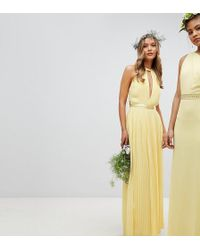 TFNC London - Pleated Maxi Bridesmaid Dress With Cross Back And Bow Detail - Lyst