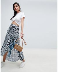 ASOS - Mixed Blue Floral Maxi Skirt With Hanky Hem - Lyst