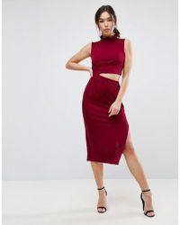 ASOS - Slinky High Neck Twist Knot Midi Dress - Lyst