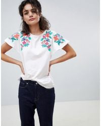 Mango - Embroidered Shoulder T-shirt In White - Lyst