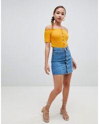 Glamorous - Button Front Denim Skirt - Lyst