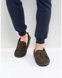 Dunlop - Tassel Slippers In Brown Suede - Lyst