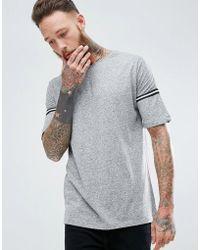 Mango - Man Striped Sleeve T-shirt In Gray - Lyst