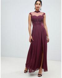 Little Mistress - Robe longue en mousseline col montant avec dos en dentelle  et fleurs appliques e0ad787efe86