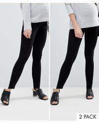 ASOS - Asos Design Maternity 2 Pack Over The Bump High Waisted Leggings In Black - Lyst