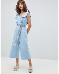 Suncoo - Wide Leg Jumpsuit With Tapestry Tie - Lyst