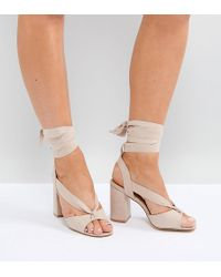 Truffle Collection - Wide Fit Tie Up Block Heel Sandal - Lyst