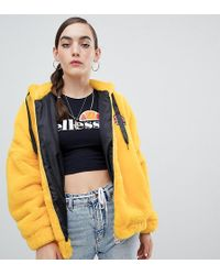 Ellesse - Oversized Zip Front Hoodie With Embroidered Chest Logo In Faux Fur - Lyst