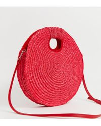 South Beach - Exclusive Bright Red Straw Cross Body Bag With Grab Handle - Lyst