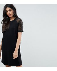 ASOS - T-shirt Dress With Lace Raglan Sleeve - Lyst