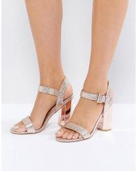 d67c7c796 Call It Spring - Burgersdorp Pink Glitter Two Part Heeled Sandals - Lyst