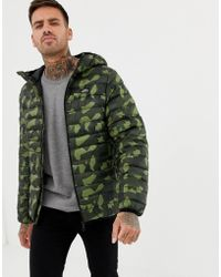 Pull&Bear - Puffer Jacket With Hood In Camo - Lyst