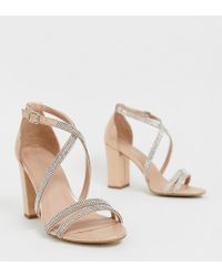 New Look - Diamante Strapping Detail Sandal In Rose Gold - Lyst