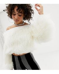 ASOS - X Laquan Smith Off Shoulder Cropped Jumper In Faux Fur - Lyst