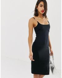 River Island - Bodycon Midi Dress With Embellished Straps In Black - Lyst