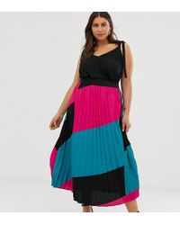 Simply Be Pleated Midi Skirt In Color Block Pink And Turquoise