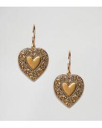 Regal Rose - Lovestruck Heart Drop Hoop Earring - Lyst