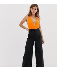 Missguided - Tailored Wide Leg Trousers In Black - Lyst