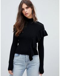 Miss Sixty - Turtleneck Knit With Ruffle Detail - Lyst