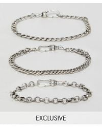 Reclaimed (vintage) - Inspired Chain Bracelet Pack In Burnished Silver Exclusive At Asos - Lyst