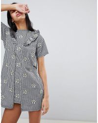 Lazy Oaf - Gingham Dress With Floral Embroidery - Lyst