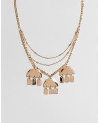 ASOS - Design Multirow Necklace With Geo Shape Charms In Gold - Lyst