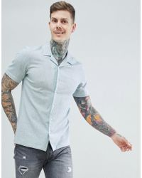 ASOS - Design Stretch Slim Cotton Linen Shirt With Revere Collar In Pale Green - Lyst