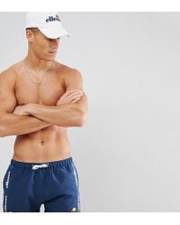 Ellesse - Swim Shorts With Taping In Navy - Lyst