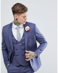 0d6a14c64c6bad ASOS Wedding Slim Suit Jacket In Light Navy 100% Wool in Blue for Men - Lyst