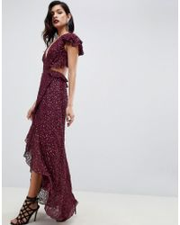 ASOS - Ruffle Maxi Dress With Open Back In All Over Sequin - Lyst