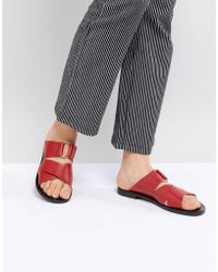 Pull&Bear - Leather Cross Strap Flat Sandal In Red - Lyst